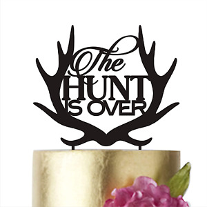 HappyPlywood The Hunt is over Cake Topper for Groom Black Wedding Cake Toppers w