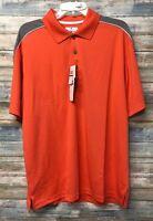 Mens Grand Slam Air Flow Short Sleeve Polo Golf Shirt - Orange/Grey - Size:large