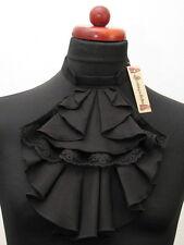 Jabot breit einfach schwarz Baumwolle Steampunk Victorian Gothic Rüschen Spitze