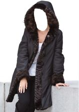 Women's Xmas Winter reversible Faux Fur hood long coat rain jacket plus fits 4X