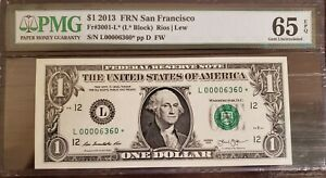 2013 $1 San Francisco Star Note L00006360* Low Serial Number Only 80k Run RARE