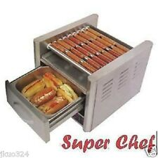 HOT DOG MACHINE ROLLER GRILL with BUN WARMER 9 Rollers Stainless Steel