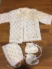 BABY BOYS Girls CHRISTENING SET Handmade Crochet White Jacket Booties Bonnet Cap