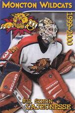 1999-00 MONCTON WILDCATS JUNIOR HOCKEY LEAGUE POCKET SCHEDULE