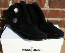 Minnetonka Women's Two Button Boot - Hardsole Black Suede - 9.5