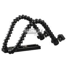 Flexible Dual-arm Dual-shoe Flash Bracket for MACRO SHOT f NIKON CANON Camera