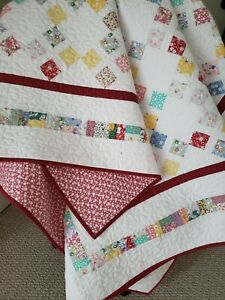 """""""1930's Reproduction 4 Patch Napper"""" Handmade Quilt 100% Cotton, Machine Quilted"""