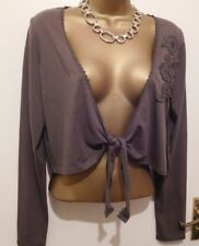 Mexx Shrug BNWT Size L Brown Long Sleeve Flower Detail Tie Front