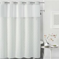 "Hookless Mosaic Embroidery Shower Curtain-WHITE-71"" X 74""- RBH40MY135"