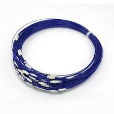 2 Colliers bleu marine ras de cou tour fil métal câble à vis 44 cm