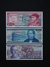 MEXICO BANKNOTES   20,50,100  PESOS  -  BRILLIANT SET OF 3    * BEST UNC *