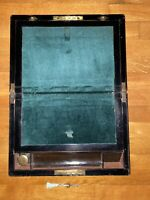 Burr Walnut Writing Slope with MoP and Abalone Banding Key and Inkwell