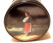 Antike russische Lackdose Papiermaschee Teedose Tabakdose Lackmalerei 19.Jhd.