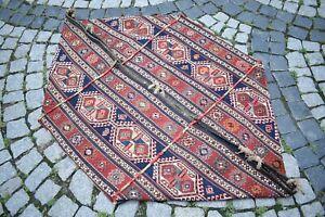 Fabulous Rare Antique Caucasian Sumac Kilim Shahsavan Mafrash Collector's Piece