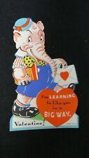 Vintage Dressed Pink Elephant Valentine Card c. 1930s