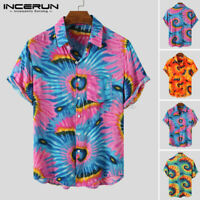 Men's Vintage Floral Shirts Short Sleeve Beach Surf Party Hawaii Blouse Tops Tee