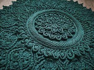 Handmade Crochet Carpet, Doily Rug, Crochet Rug, Yarn Lace Mat, Cottage Carpet