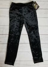 Large (10/12) Girls Black Velvety Fuzzy Leggings Pants Art Class New