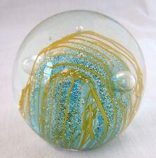 New Art Glass Golden Yellow+ Blue Bubble Ball Paperweight,Decorative Piece