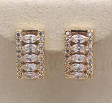 18K Gold Filled - Tiger Eye Hollow Rectangle Topaz Multilayer Hoop Gems Earrings