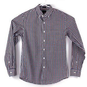 J. Crew Mens Multicolor Checked Button Up Long Sleeve Collared Slim Fit Shirt S