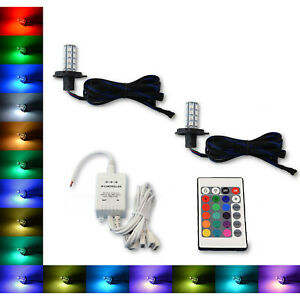 H4 9003 27 SMD RGB Multi-Color Changing Shift Led Fog DRL Light Bulb IR Pair 7.7