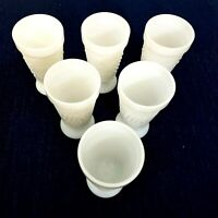 White Pedestal Milkglass Grape Design Goblets Tumblers Set Of 6 Vintage 8 Oz USA