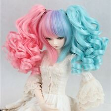"BJD Doll Wig 8-9""1/3 SD DZ DOD LUTS Wavy Curly Lolita Ponytails Blue Pink Hair"