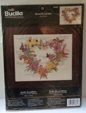 Bucilla Butterfly Garden Counted Cross Stitch Kit 43363 Heart Shaped Floral NEW
