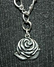James Avery RETIRED Sterling Silver Rose Pendant Oval Twist Chain Necklace