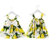2018 Baby Girl Back Bandage Lemon dress Toddler Kid Summer Skirts Dresses j0p