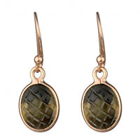 925 sterling Silver smoky Quartz rose gold plated dangle earring jewelry 1.88g