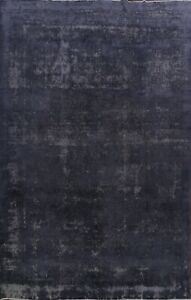 Vintage Distressed Overdyed Area Rug Evenly Low Pile Hand-knotted WOOL 9x12 ft