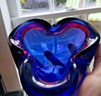Alfredo Barbini Murano  Purple, Blue & Red Italian Art Glass Bowl Three Pinch