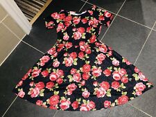 Vestido De Fiesta Dorothy Perkins Elástico Floral Rosa Skater Mini Té Sol De Verano 10