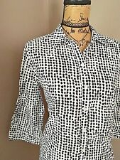 Chico's Blouse Sz 2 or M Spring Summer Career Casual High Low Cotton Button Down