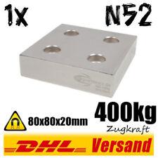 Très puissant en Néodyme Magnétique Boîte 80x80x20mm n52 avec 4 trous nickelée