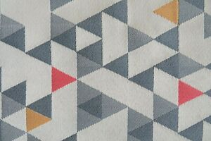 """Vintage MCM HBF Upholstery Fabric Geometric """"Equation"""" in Divide - Gray 7 yds"""