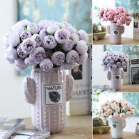27 Köpfe Künstliche Pfingstrose Rosen Blumenstrauß Seidenblumen Hochzeit Deko