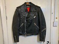 VINTAGE 80's GOLDEN LEAF DISTRESSED LEATHER BRANDO MOTORCYCLE JACKET SIZE 46 / S