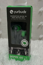 YURBUDS INSPIRE 100 Green/Gray Sweat Proof Sport Earphones ''Brand New""