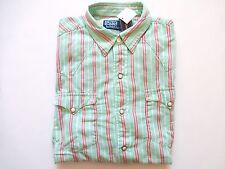 New Ralph Lauren Polo 100% Cotton Turquoise Striped Western Button Up Shirt sz M