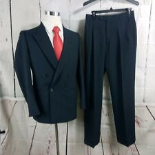 Nino Cerruti 40R Double Breasted Blue Plaid/Pane  2pc Suit 28x32 Pleated