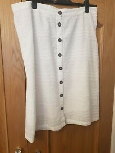 M&CO Ladies BRIGHT WHITE summer BRODERIE ANGLAIS cotton skirt 18 20