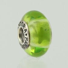 """Genuine Pandora Murano Glass Charm """"Lime Green Stars"""" 790907- retired"""
