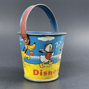 Vintage 1940s Tin Litho Disneyland Sand Pail Candy Container Donald Duck, Pluto