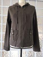 ANN TAYLOR LOFT Women's Brown Zipper Hooded Sweatshirt Jacket Pockets Stretch  M