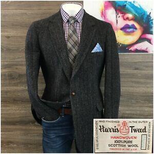 Vintage Harris Tweed Mens Sport Coat Blazer Wool Sport Jacket Size 44XL 2 Button