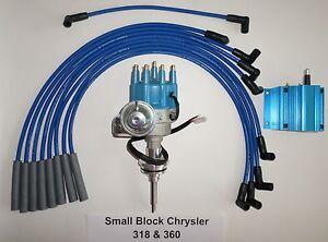 CHRYSLER 318-360 BLUE SMALL Cap HEI Distributor, 50K COIL & Spark Plug Wires