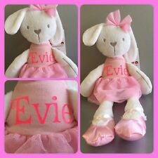 personalised 42cm rabbit bunny bear plush soft stuffed toy doll ballerina pink